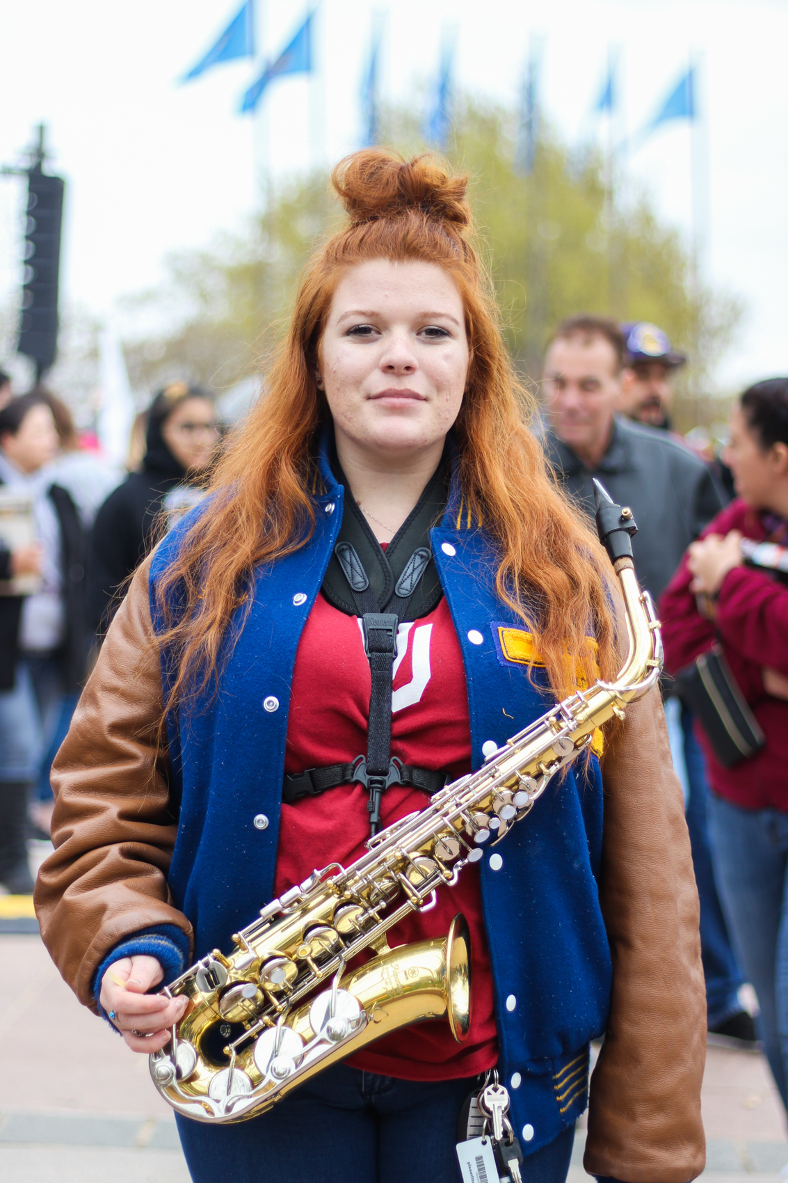 """I play saxophone in my high school, and the reason I care is that in the future, I'd like to join the music program and become a teacher. If you want to change something, you've got to do it yourself."" —Emma Mankin, Student at Long Grove High School, played in The Walkout Band"