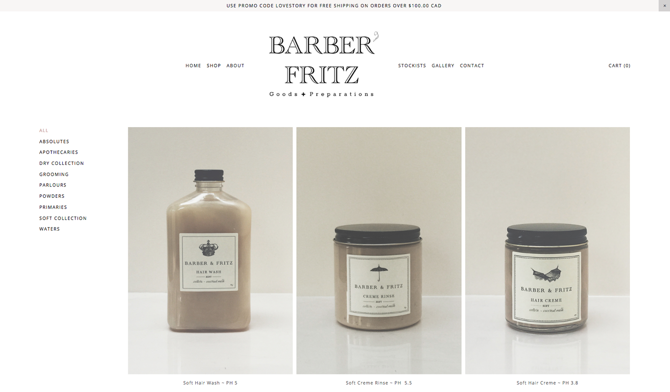 Barber & Fritz's side navigation makes it simple to categorize each product by need and scales well across all viewing devices.