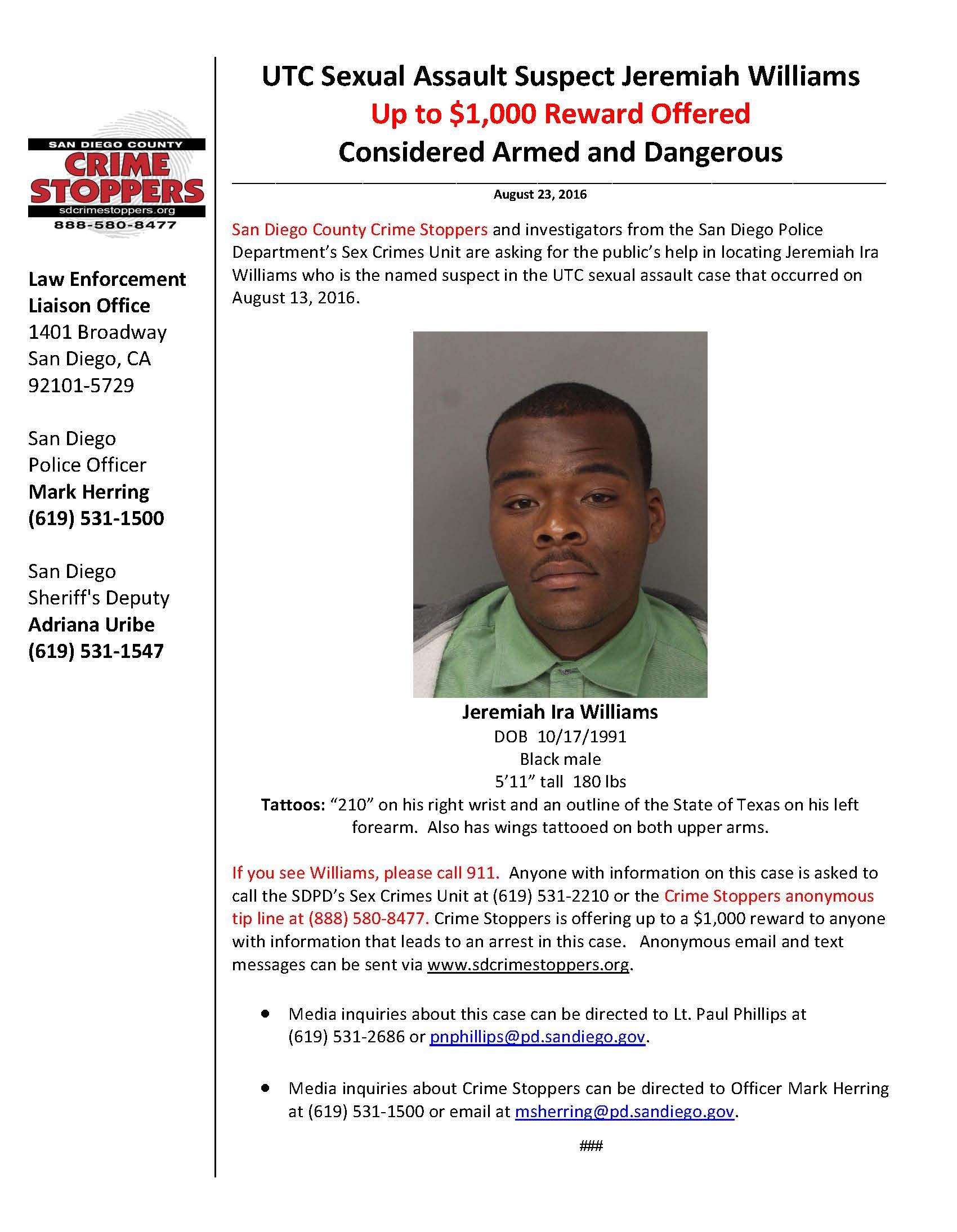 082316 UTC Sexual Assault Suspect