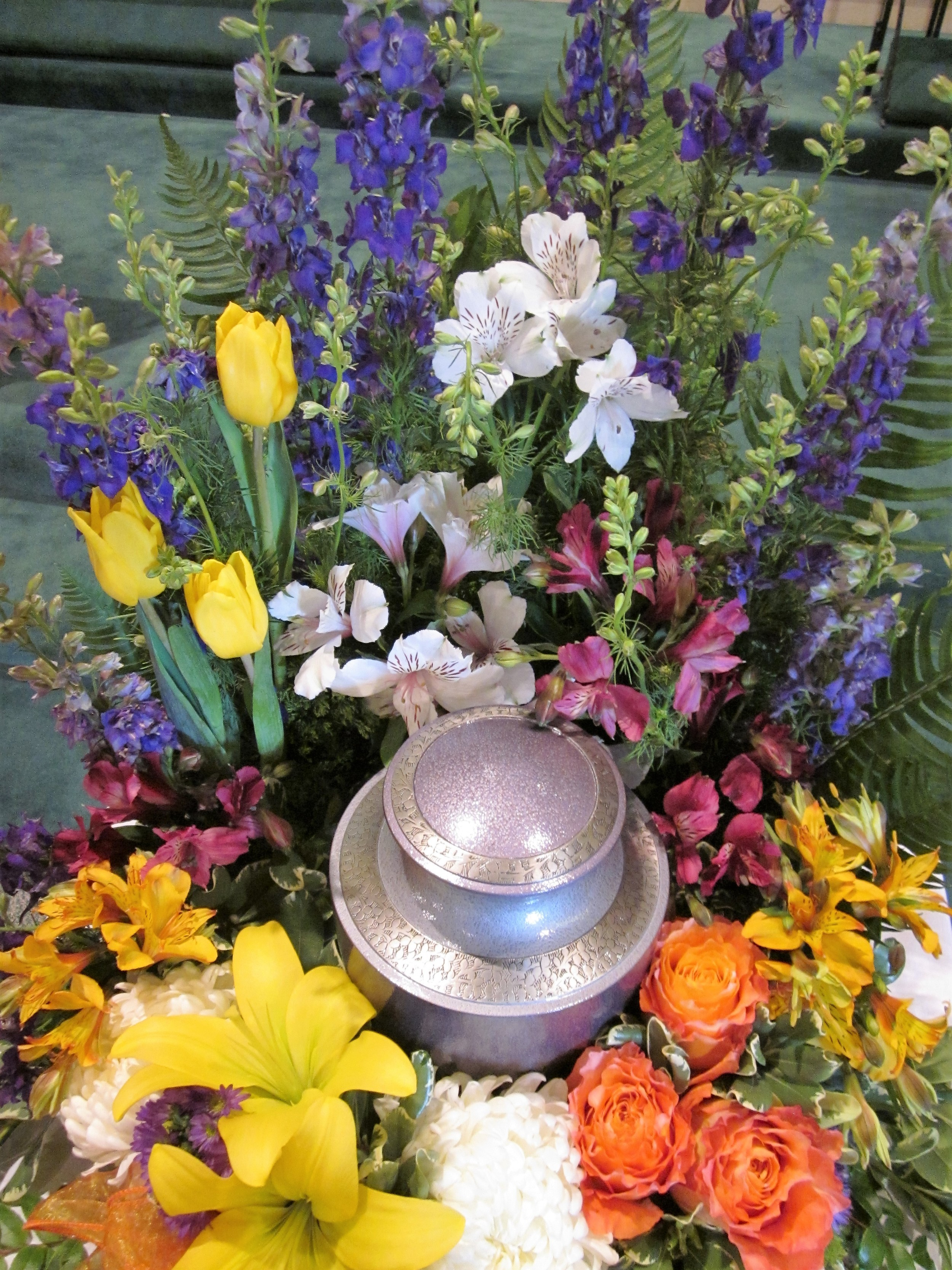 #13 Urn surround, color blocked multi bright florals