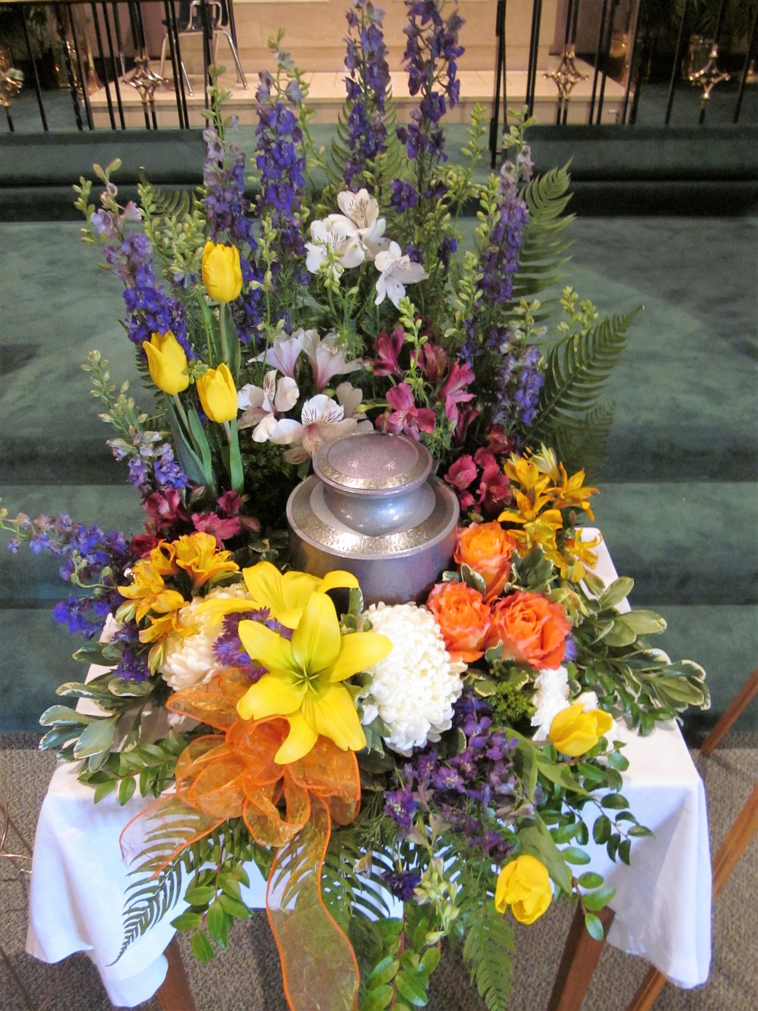 #14 Large multi colored bright urn surround