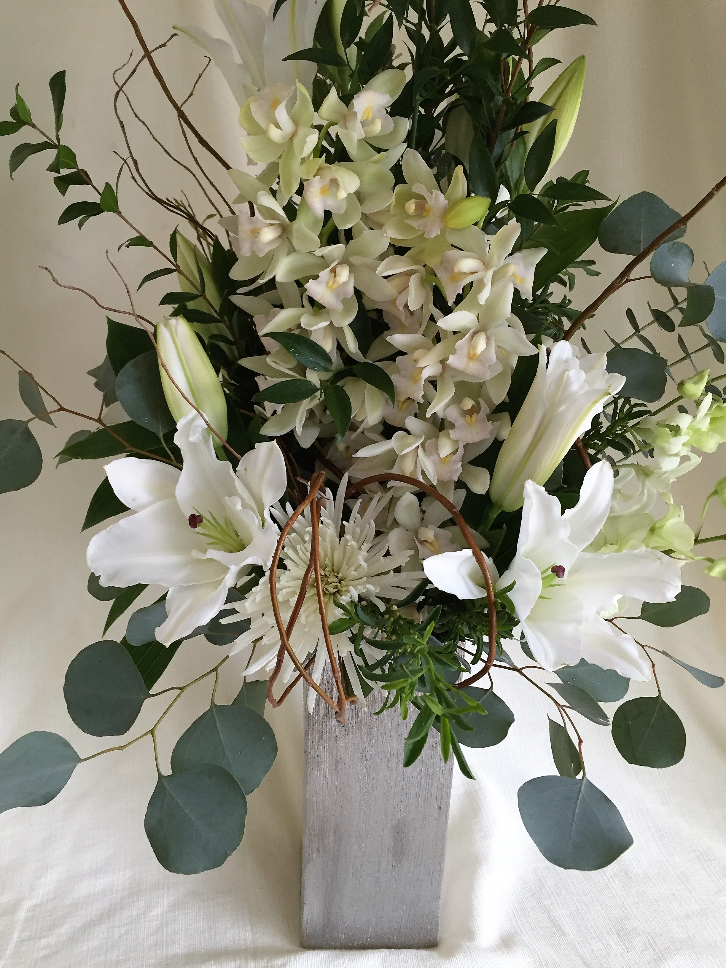 #19 White Cymbidium vase arrangement