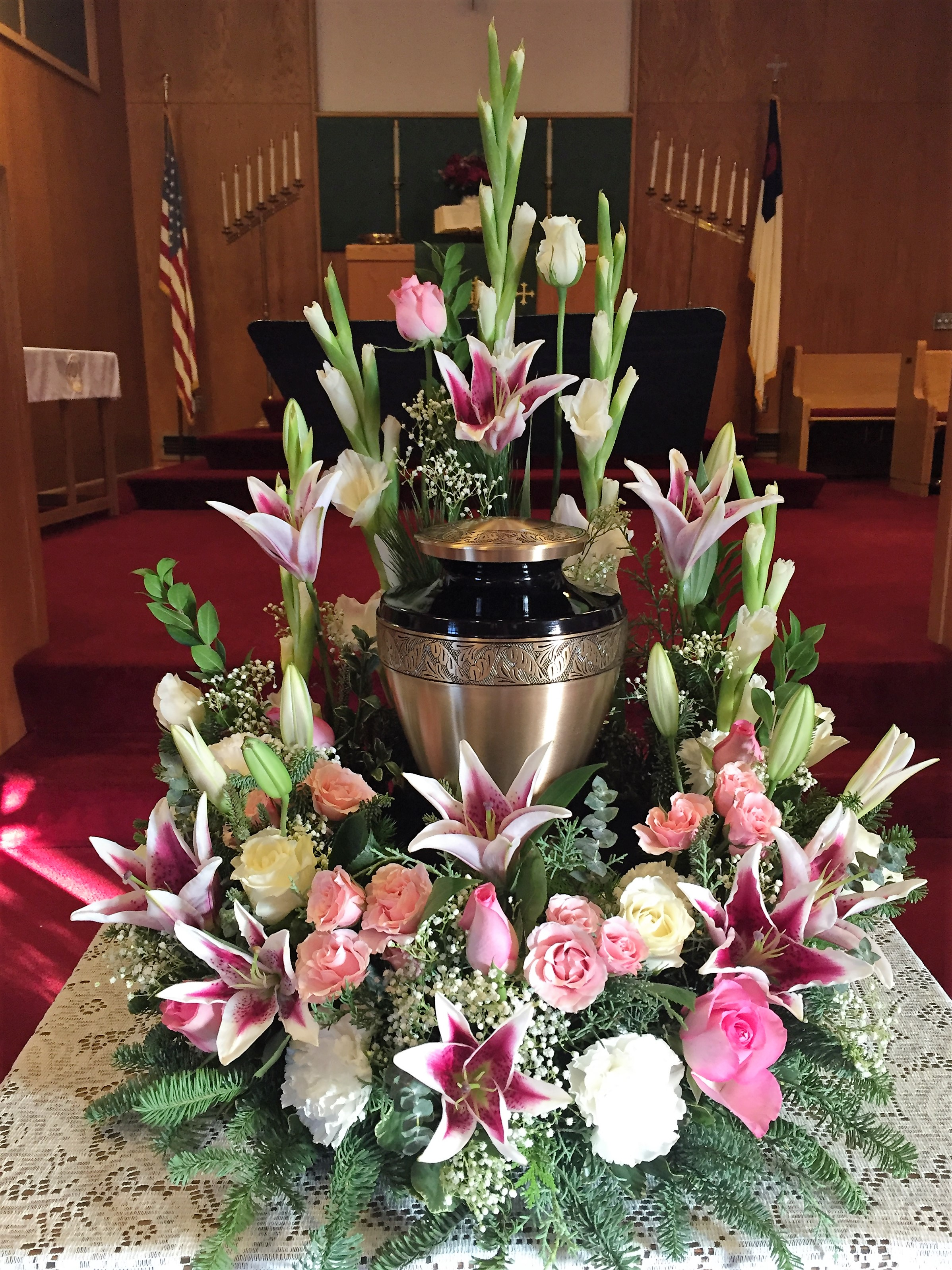 #25 white and pinks urn surround