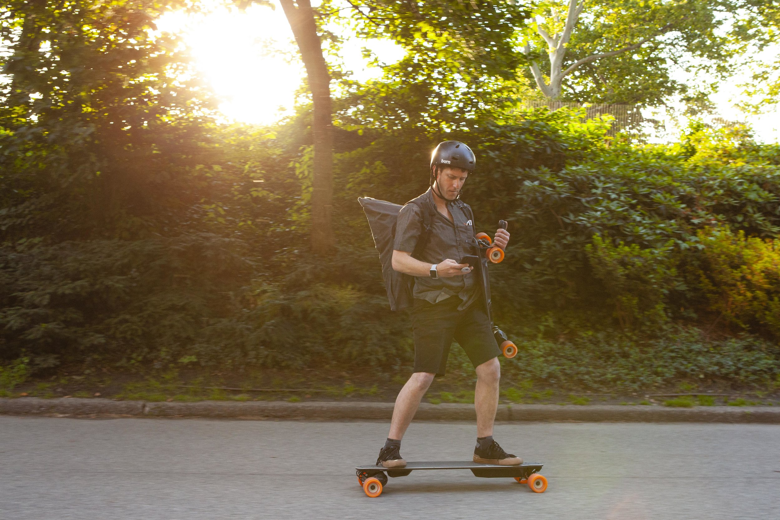 One time I saw Bobby riding down the West Side Highway on a Boosted Plus with a board in the Boosted Backpack, another in his hand, while texting. He claims to be able to handle 5 boards at once while riding. I don't doubt it...