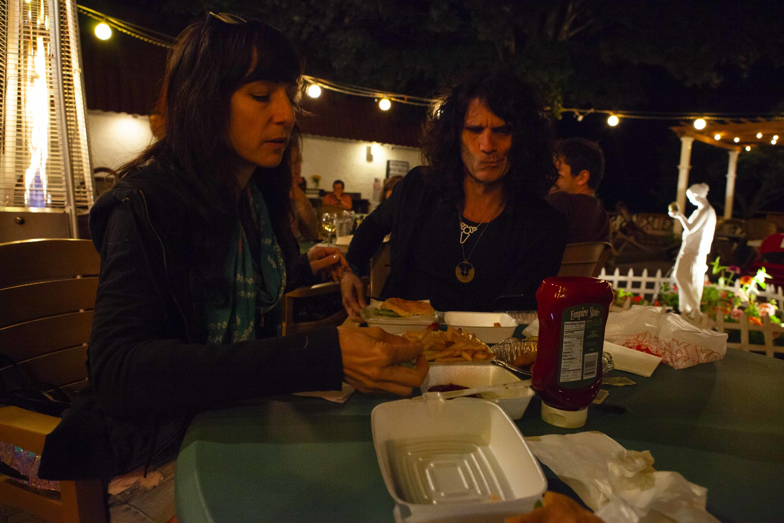 Me, mom, and Rich, got some cheeseburgers, french fries, and talked about organic ketchup.