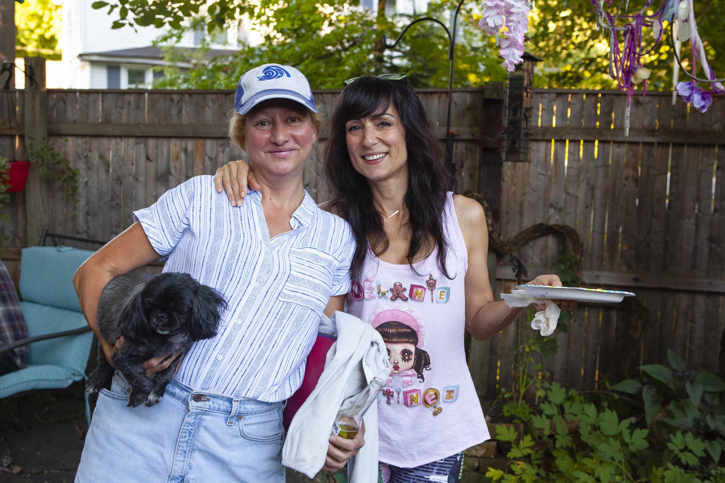 """My mother and her childhood friend Eileen Ward. Eileen has the sweetest dog named """"Moby Dick."""""""
