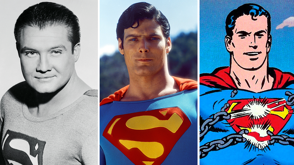 "Legendary conceptions of the Man of Steel from eras past. From L to R: George Reeves from ""The Adventures of Superman"" (1951-58), Christopher Reeve from the first major motion picture series (1978-1987), and a rendering by legendary Silver Age Superman artist Curt Swan from  Superman Annual  #1 (1960)."