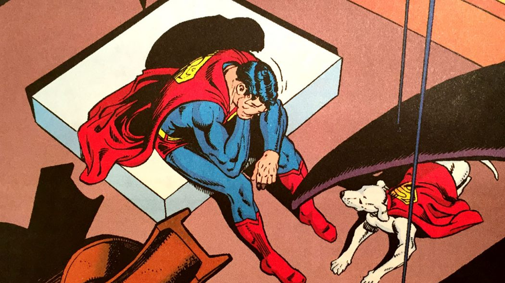 Krypto tries to comfort his friend in a time of anguish, from  Superman  (vol. 1) #423. Art by Curt Swan.