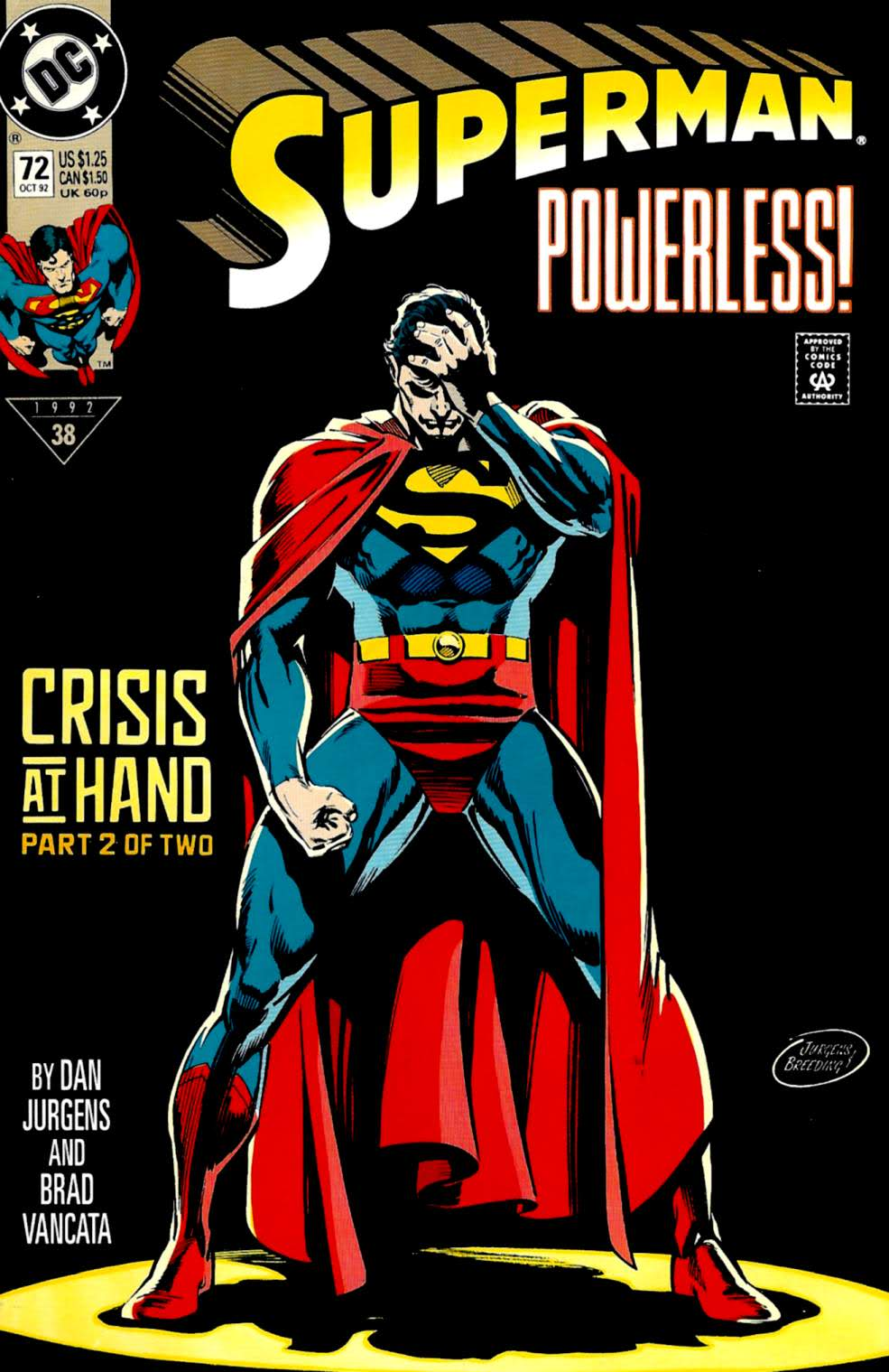 Cover art to  Superman  (vol. 2) #72, by Dan Jurgens and Brett Breeding.