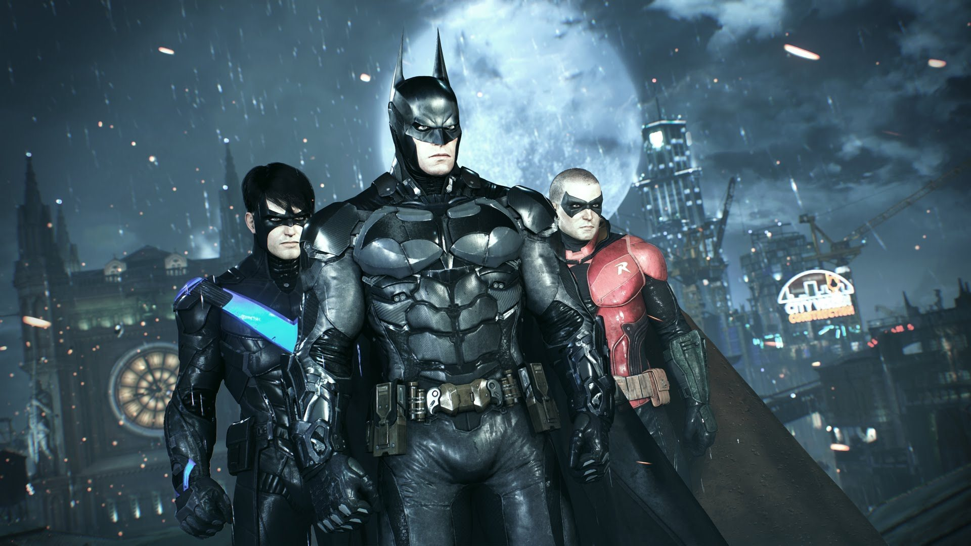 """Many of Batman's closest allies — including the pictured Nightwing (L) and Robin (R) — play a big part in both the game's story, and its new """"dual play"""" combat system."""