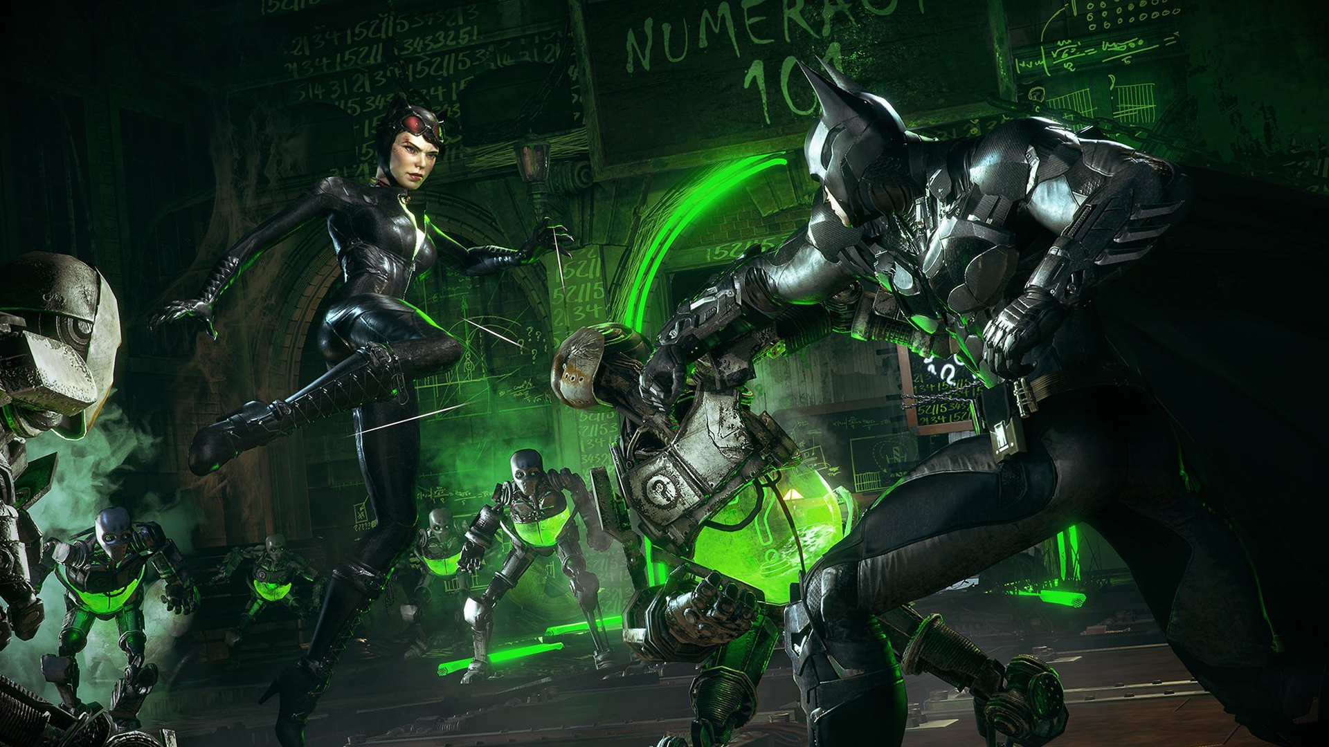 """Using the game's new """"dual play"""" mode, you have to take on a new form of the Riddler's challenge rooms by trading off between Batman and the feline fatale herself, Catwoman."""