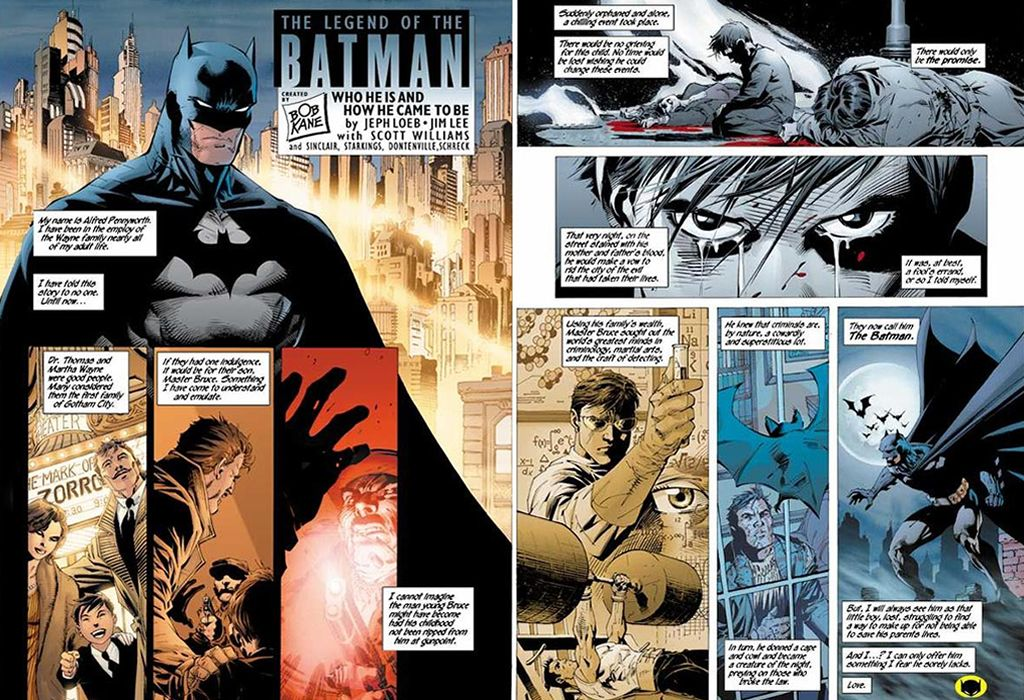 This was  my Batman! A dark vigilante of the night (Written by Jeph Loeb with art by Jim Lee).