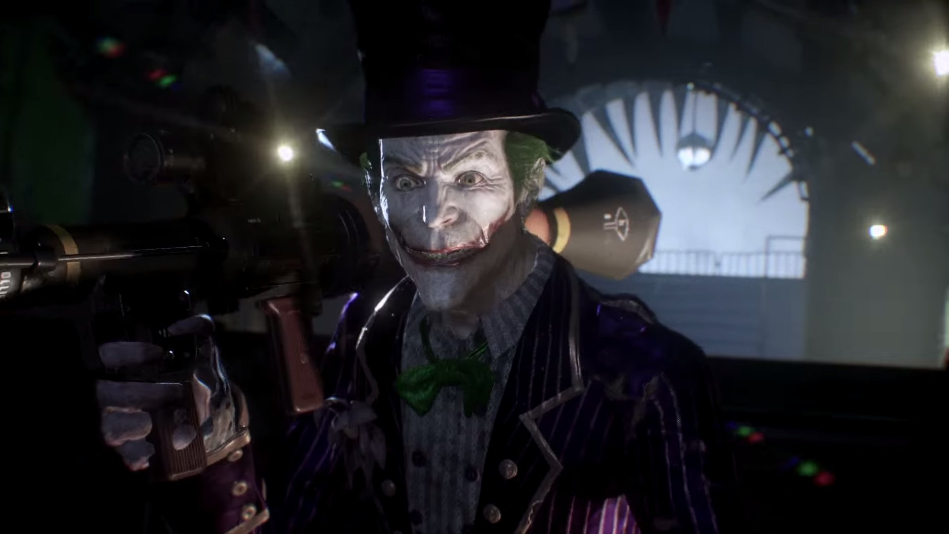 Mark Hamill returns as the Joker for this DLC adventure, bringing the same sardonic wit and unsettling humor to the forefront with his echoing cackle.