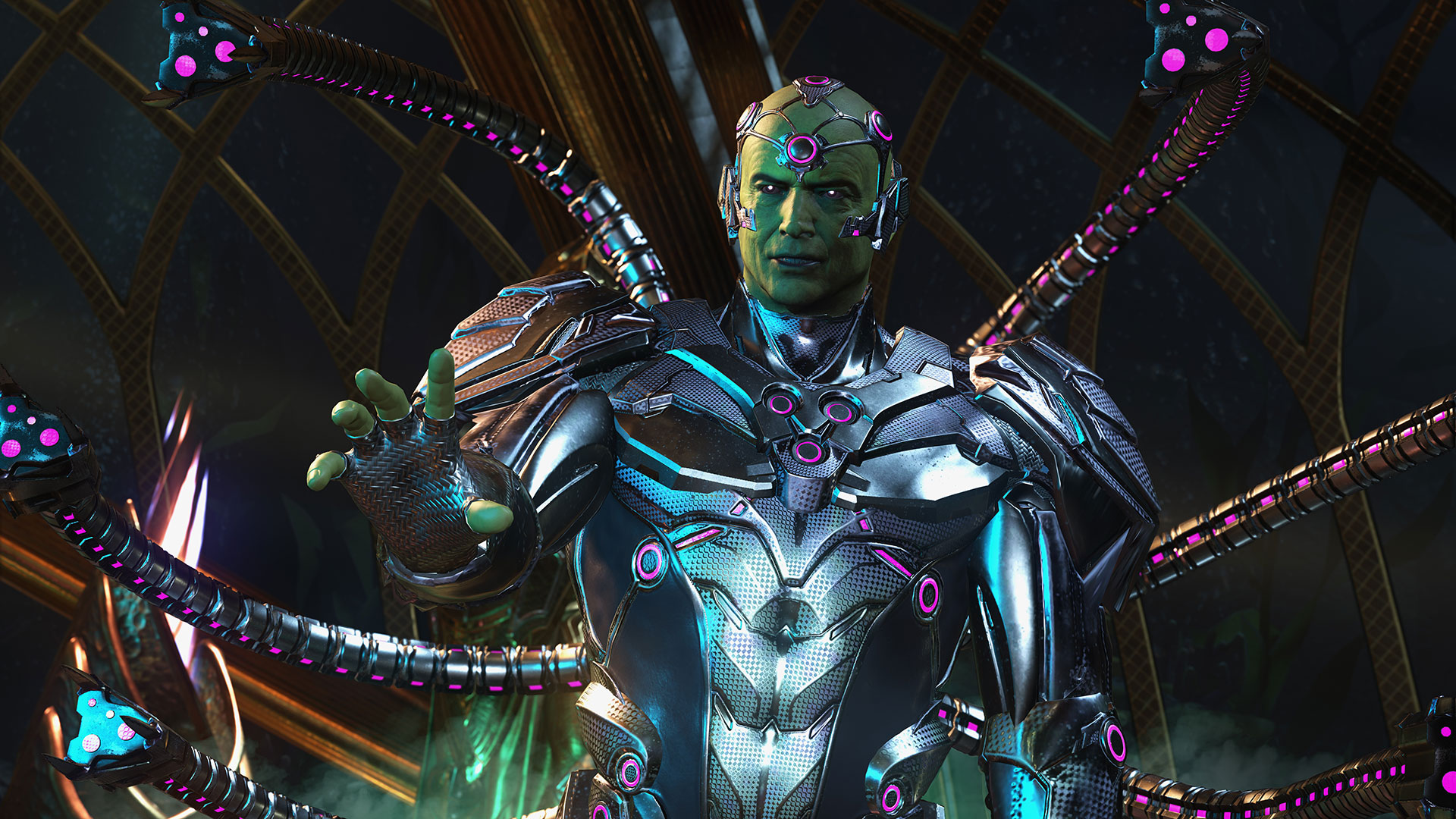 Brainiac, voiced by Jeffrey Combs, seeks to add the final two surviving Kryptonians to his collection of civilizations before setting his sights on Earth as the next target for his destructive power