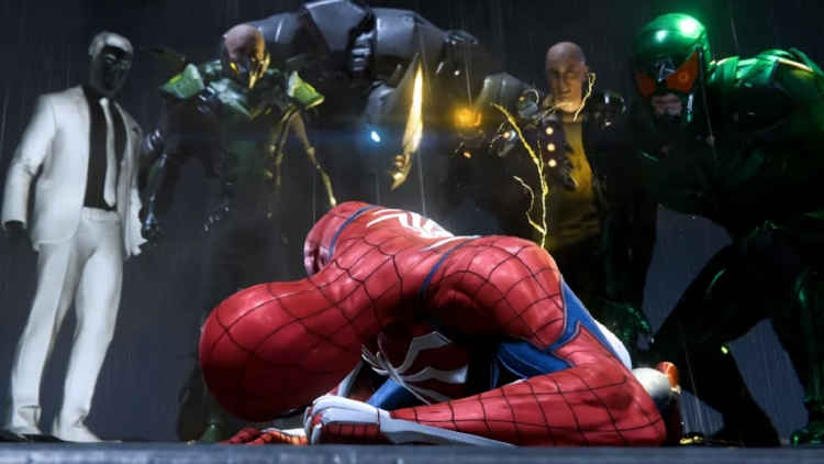 A gauntlet of some of the villains you'll encounter in  Marvel's Spider-Man , including (L to R) Mr. Negative, the Vulture, Rhino, Electro, and Scorpion.