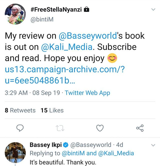 "When you write a beautiful, personal and thoughtful review of a book that touched you and the author approves!! 🤩😍👏🏿✨✨ If you haven't had a chance to read Kenyan activist and writer @bintimswahili 's review of @basseyworld's ""I'm Telling The Truth But I'm Lying,"" you are missing out! ""The book takes me through the familiar roundabout route I often go when trying to avoid something that I'm not ready to face, and when she delivers me to her truth, she inspires me to be as vulnerable as she is."" Check it in the latest issue of #kaliletter. LinkinBio"