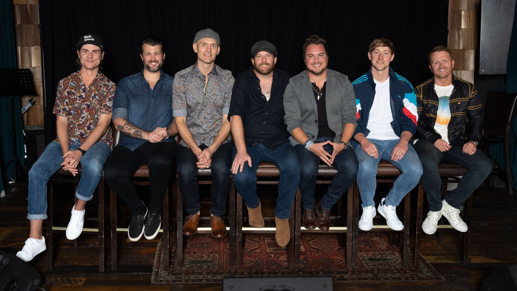 Pictured left to right: Ross Copperman, Eli Young Band (Chris Thompson, Jon Jones, James Young, Mike Eli), Ashley Gorley, and Shane McAnally