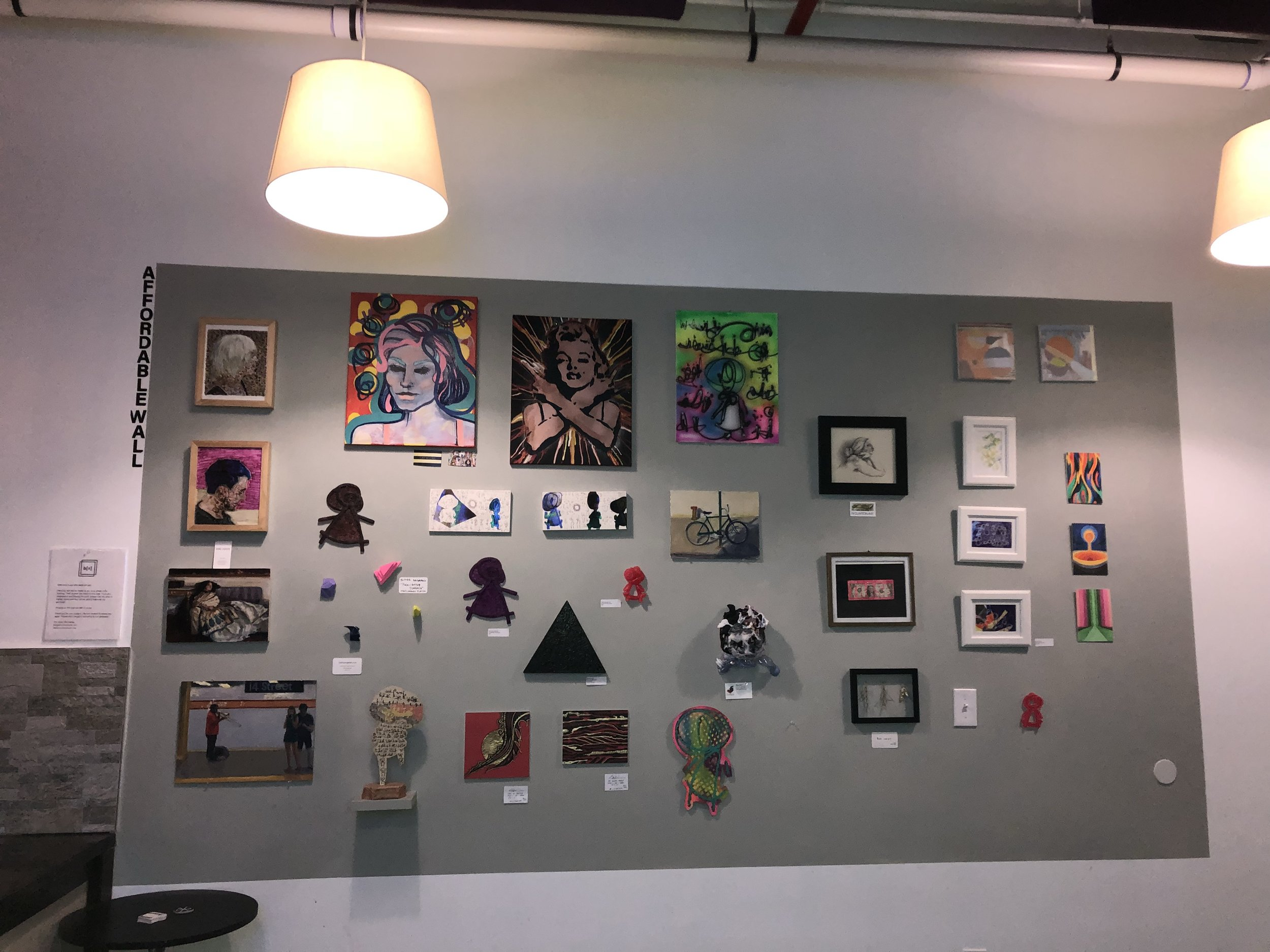 Affordable Wall where our members have the opportunity to sell original pieces for $50 or less