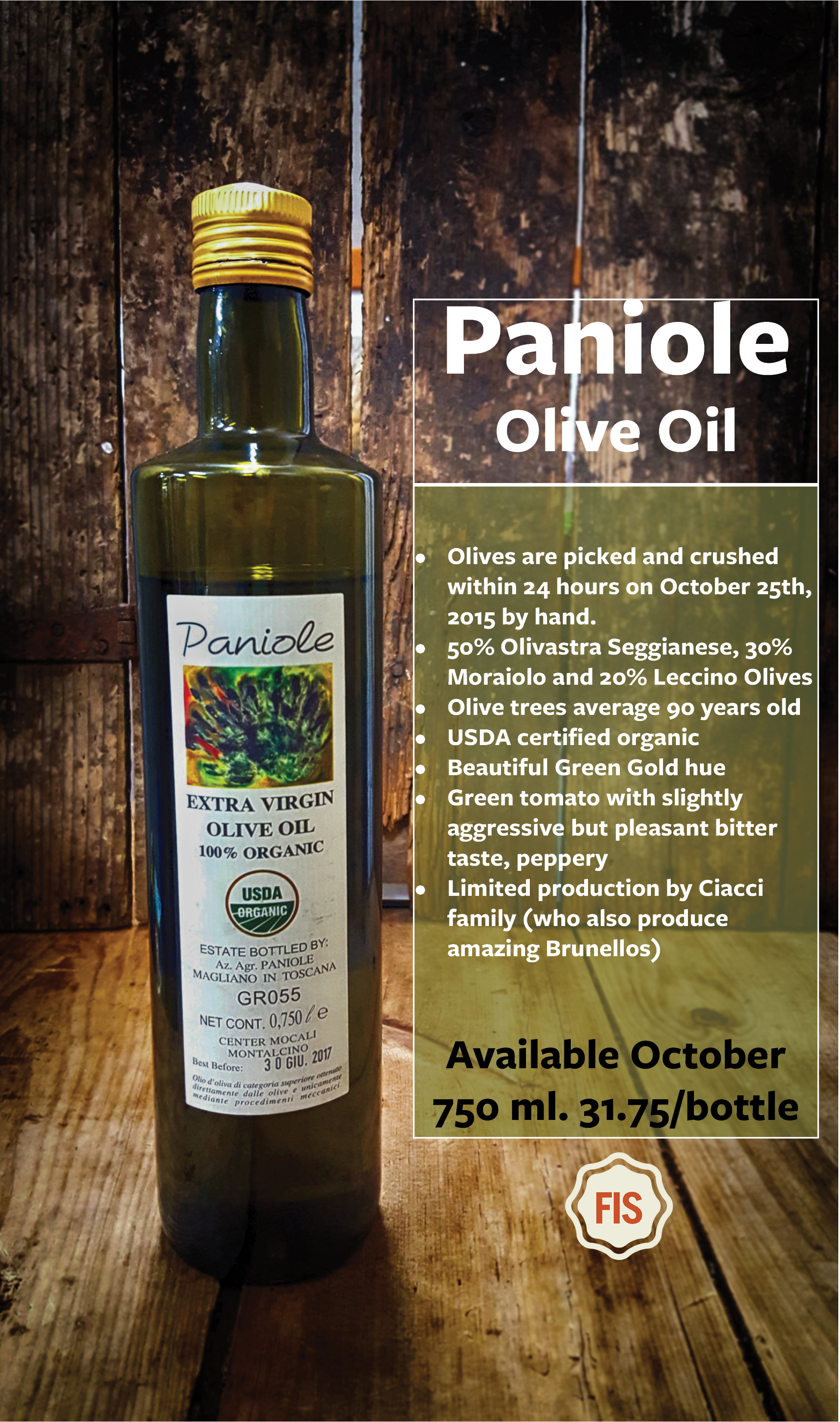 Paniole Olive Oil <br/> available in October