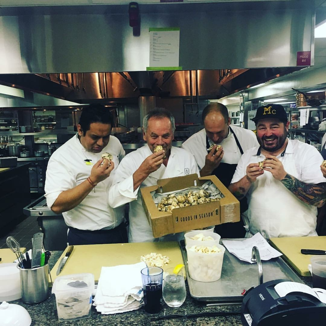 Sean Brock and Wolfgang Puck enjoying Foods in Season Matsutakes
