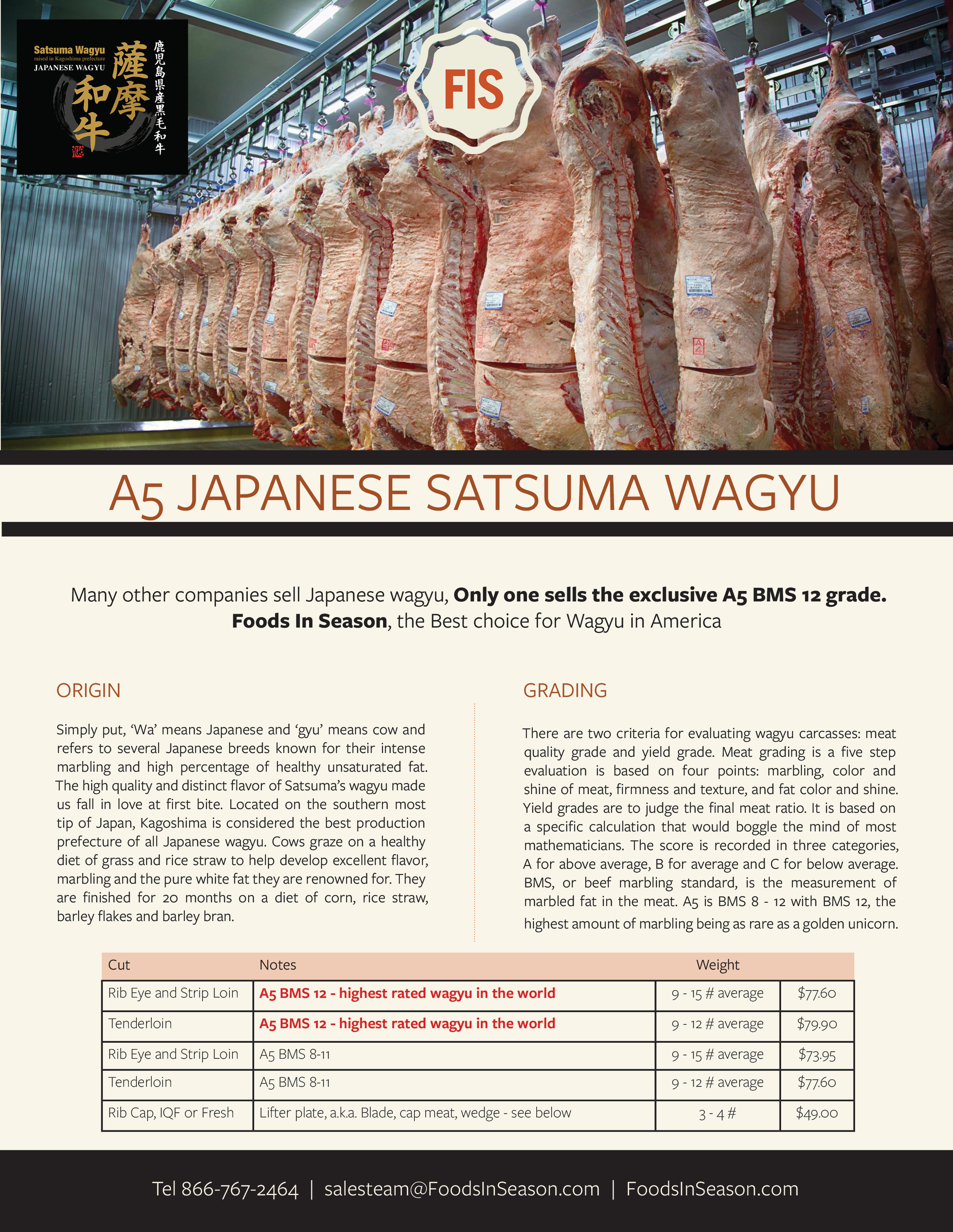 FIS, America's Only Supplier of A5 BMS 12 Japanese Wagyu