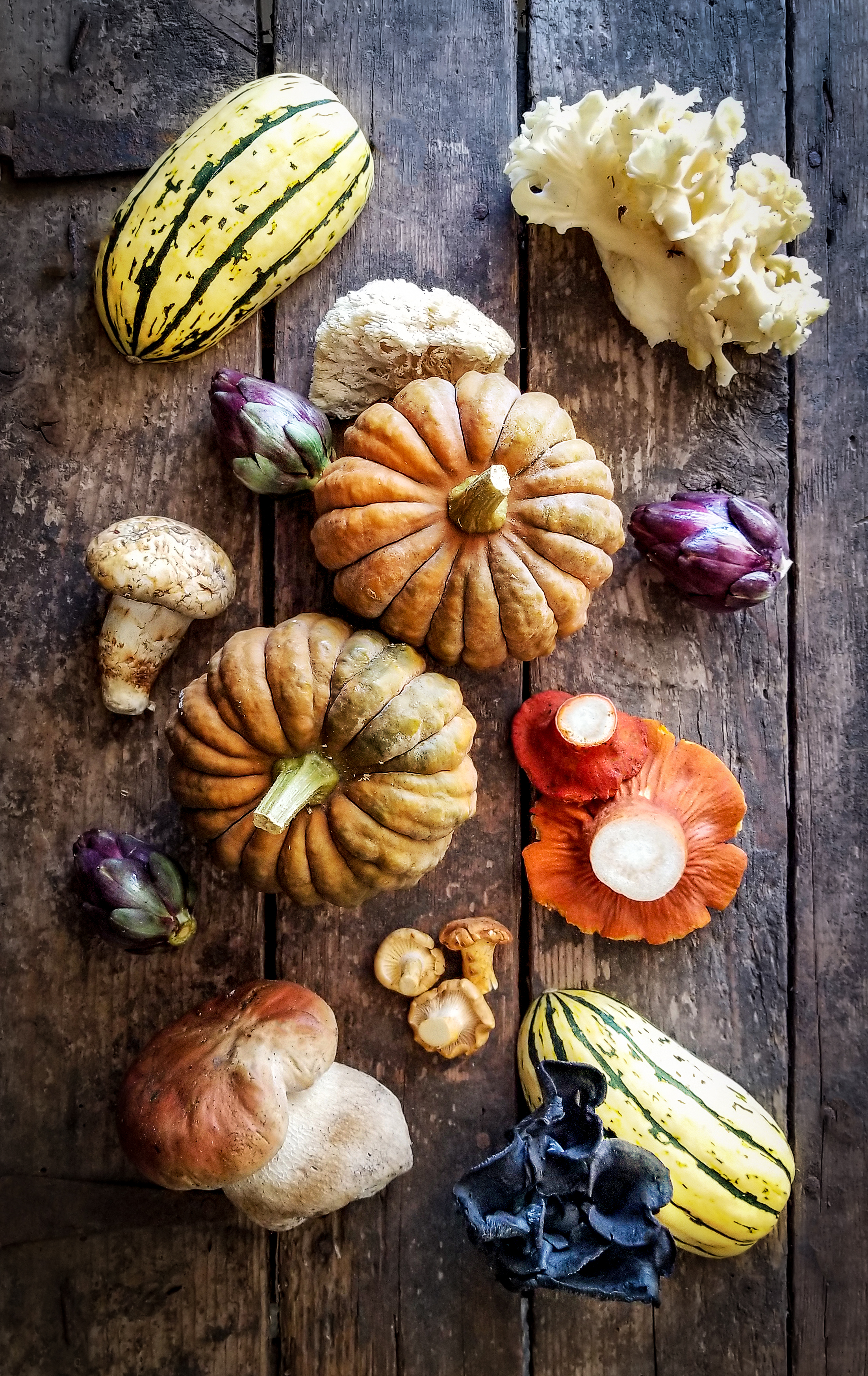 Fall harvest of hardy squashes and wild mushrooms
