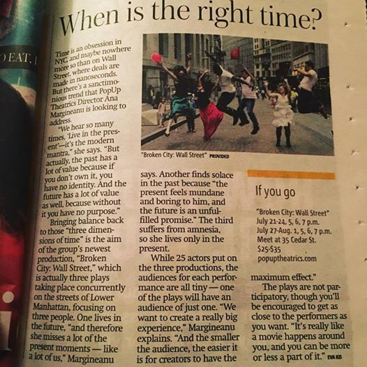 Krystal Sobaskie in PopUP Theatric's  Broken City: Wall Street. News Coverage.