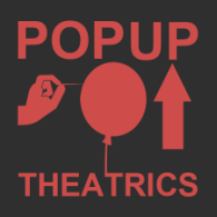 PopUP Theatrics Logo -- Black background, Red Print with the images going from left to right: a hand with a needle, a balloon, and an upwards pointing arrow.