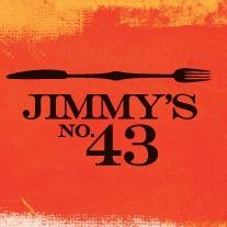 """Jimmy's No. 43 Logo. Black horizontal knife and fork over written"""" Jimmy's No. 43"""" against a rusty red background."""