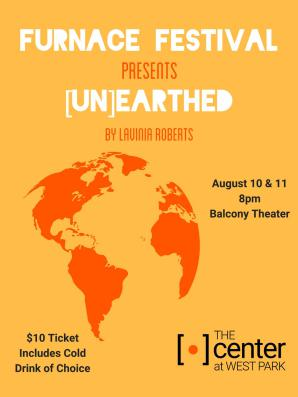 Furnace Festival Logo for [Un]Earthed by Lavinia Roberts. Orange background with orange and white letters.