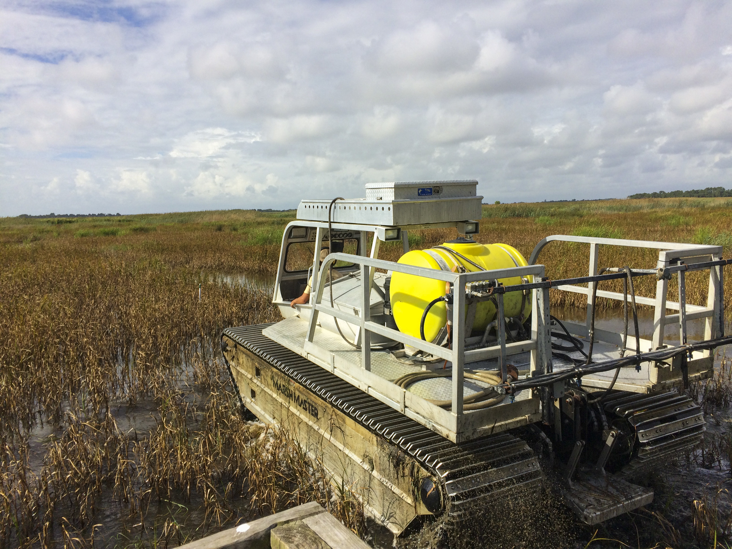 The Marshmaster takes off across a a managed impundment with SCDNR Wildlife Technician Simeon Thornhill at the controls.