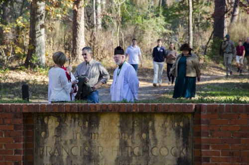 Crowds begin gathering an hour before the event, with visitors jockeying for a coveted position along the wall of Hitchcock Woods' Memorial Gate.