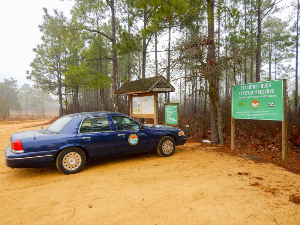 The parking area at Peachtree Rock Heritage Preserve in Lexingto County can get crowded on weekends -- it's a popular day-hike of moderate intensity that will nonetheless take you through some rapid changes in terrain and elevation in under a mile.