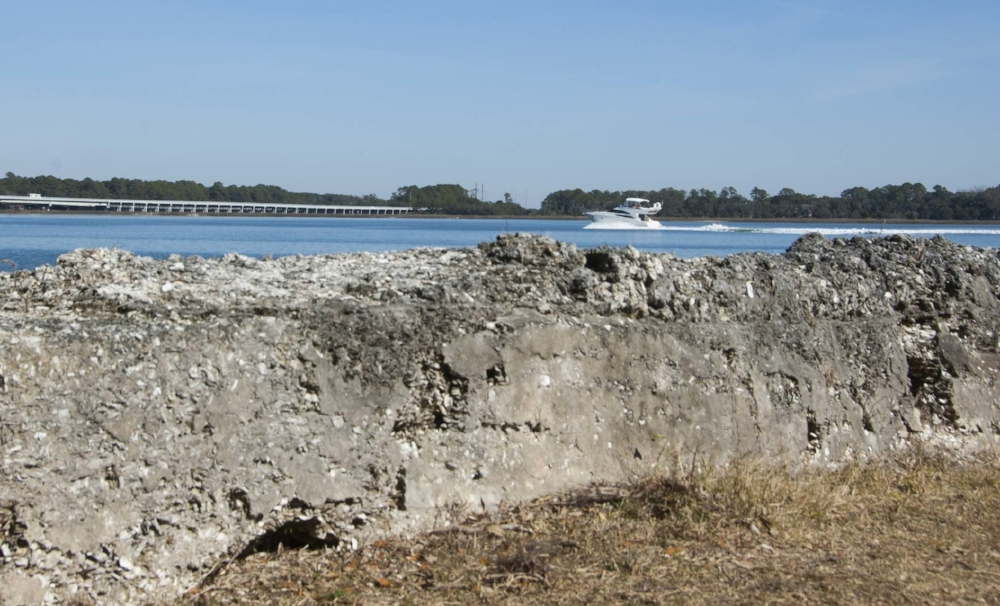 Daily traffic on the Beaufort River takes boaters past the oyster shell tabby walls of historic Fort Frederick, an SCDNR heritage preserve.