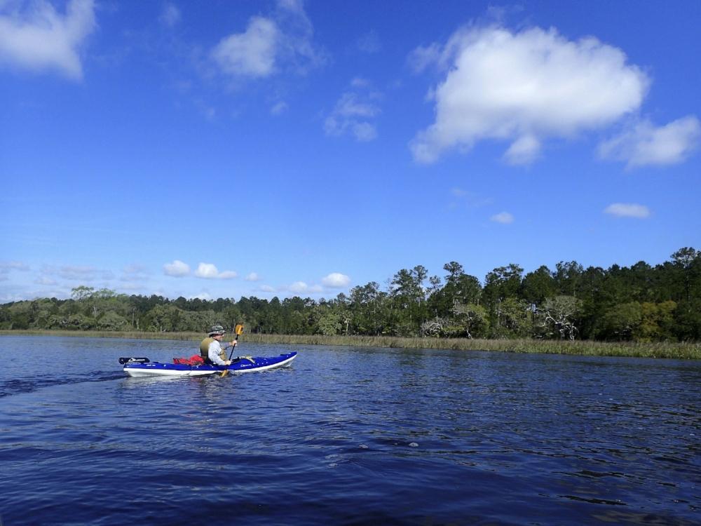 Practicing my turning stroke on Wimbee Creek.  photo by Nancy Stills, Sun City Hilton Head Kayak Club