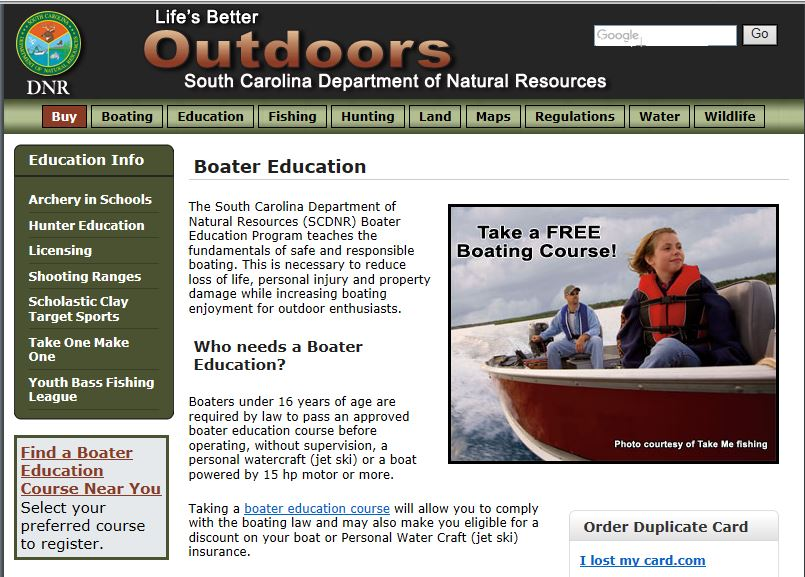 - Visit the SCDNR boater education web pages to sign up for an upcoming boater safety class.