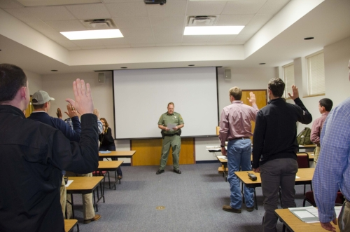 SCDNR Deputy Director for Law Enforcement, Col. Chisolm Frampton, delivered the oath of office to the new officer class in January, the beginning of their training odyssey.