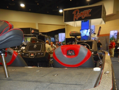 Glittering displays of fast, tricked out Ranger brand bass boats are a mainstay of FLW tournament expos, where fans looking for the latest and greatest in bass fishing gear are sure to notice. SCDNR photo by David Lucas