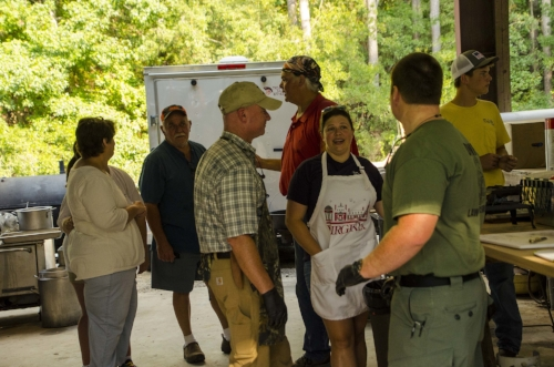 Volunteers, including some SCDNR Officers, kept hunters and volunteers well fed, with 15 gallons of chicken bog Friday night and huge Lowcountry breakfast Saturday evening.   SCDNR photo by David Lucas