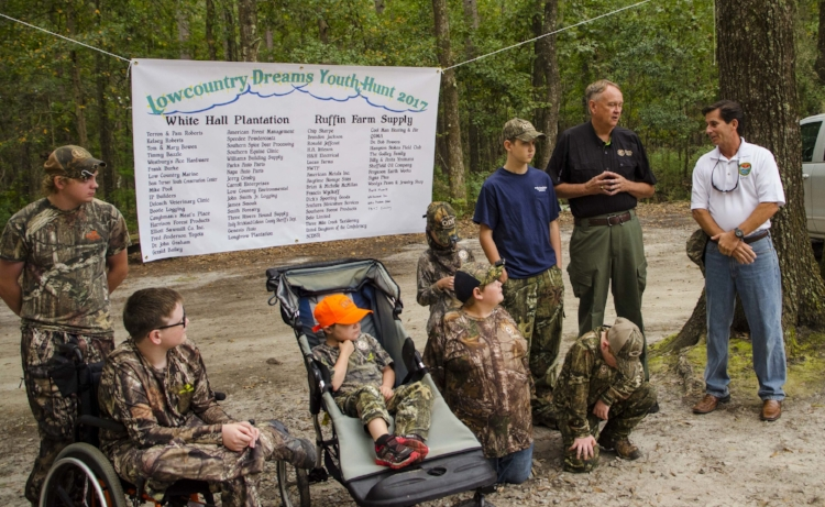 SCDNR Director Alvin Taylor and S.C. Natural Resources Board member Mike Hutchins of Lexington spoke to the assembled group about the new Outdoor Dream Foundation license fee waiver law and the importance of volunteer partnerships to the agency's mission of increasing youth involvement in hunting, fishing and the outdoors.   SCDNR photo by David Lucas