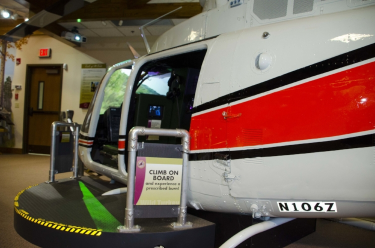 This helicopter simulator is a big hit with kids of all ages.(SCDNR photo by D. Lucas)