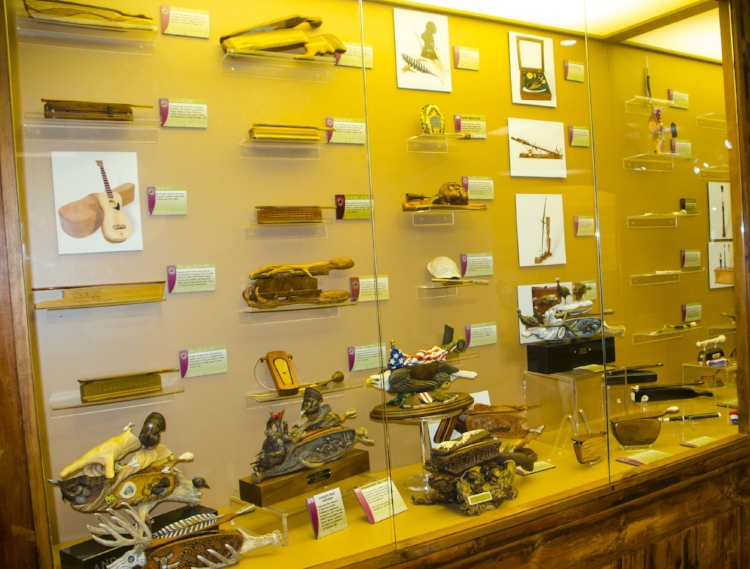 Just a part of the amazing display of hand-crafted turkey call at the Winchester Museum.(SCDNR photo by D. Lucas)