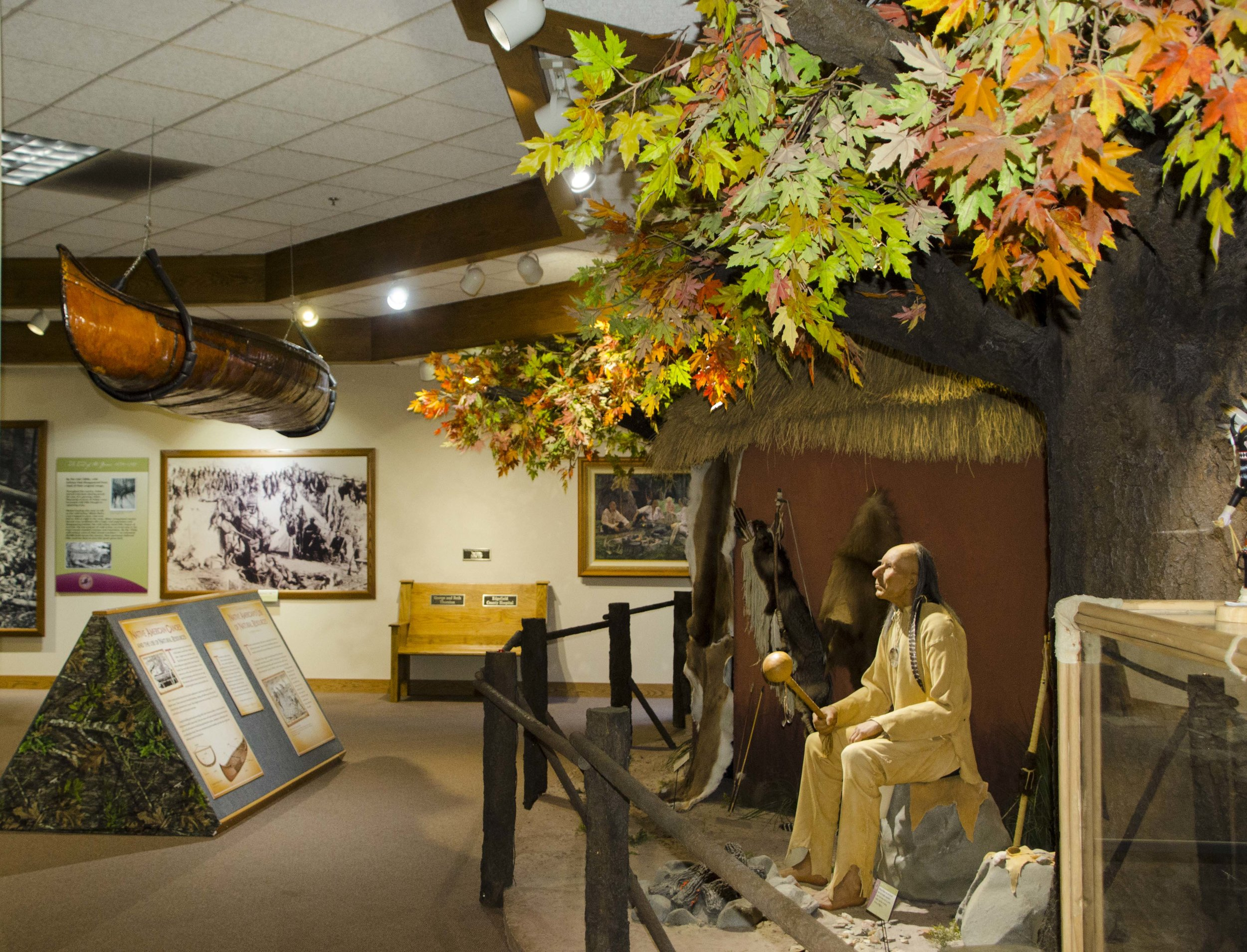 The exhibit is roughly chronological, beginning with the importance of the wild turkey as a game animal to Native Americans prior to European colonization of the New world.