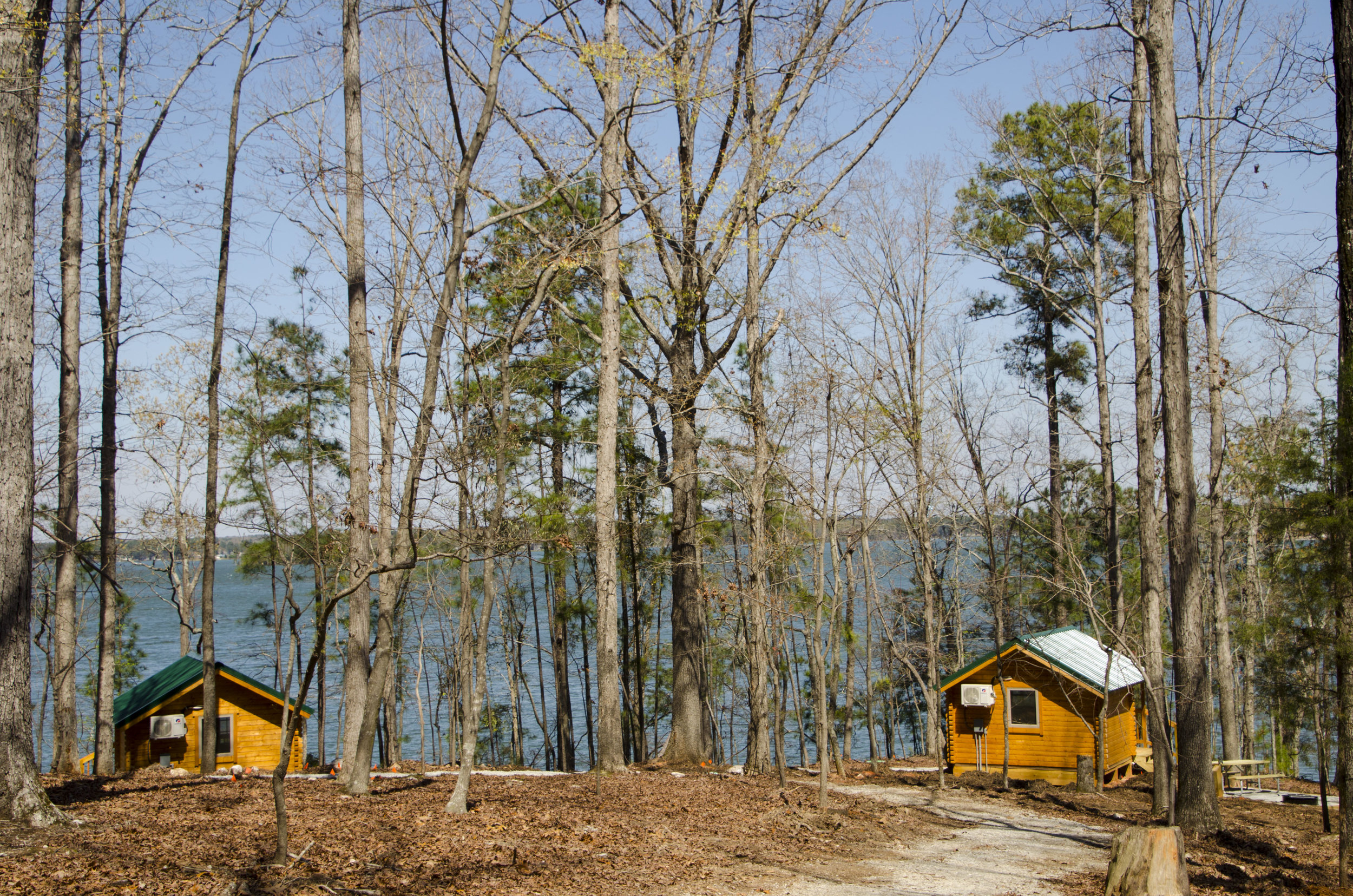 Coming soon: By this summer (June, 2018) park managers hope to have 10 small fishing cabins like these completed and ready for use by campers at Dreher Island State Park.
