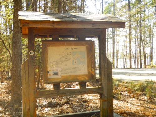 The Little Gap trailhead and parking area is just across the main park road from the location of the new cabins.