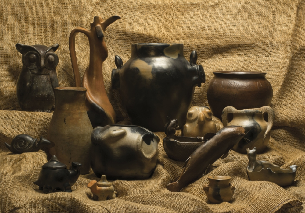 Catawba pottery on display at the USC-Lancaster Native American Studies Center. Catawba potters often incorporate animals and other natural themes into their work. Photo by Michael Foster,  South Carolina Wildlife  magazine.