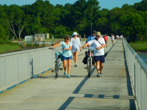 Loading up on the dock at Garris landing. Bicycles are welcome on the ferry and can be a good way to explore the island's sandy trails-- just let the staff know when you book your trip.