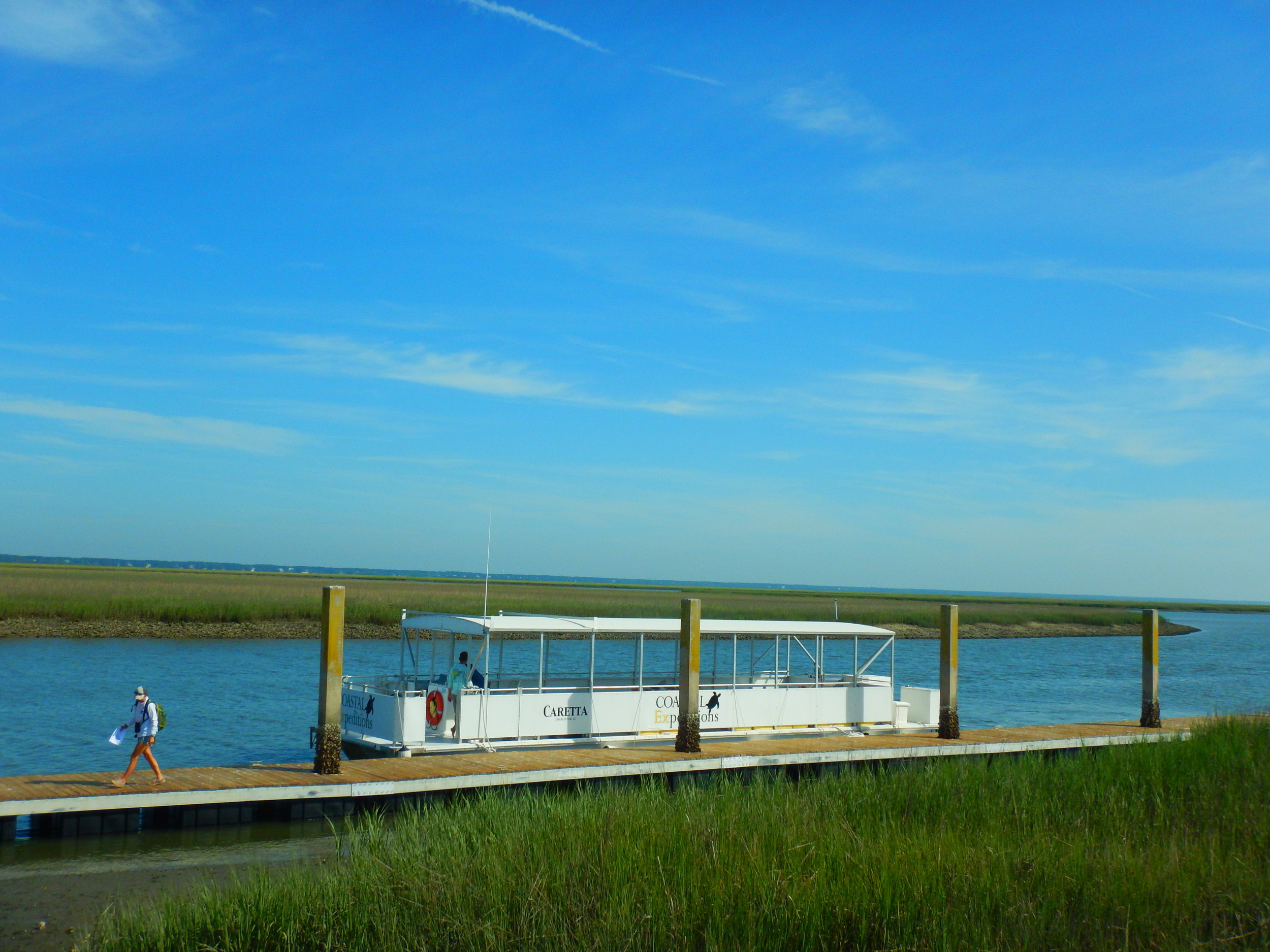 The ferry makes two regular  runs to the island — at 9 and noon — three days a week, leaving from Garris landing in Awendaw.