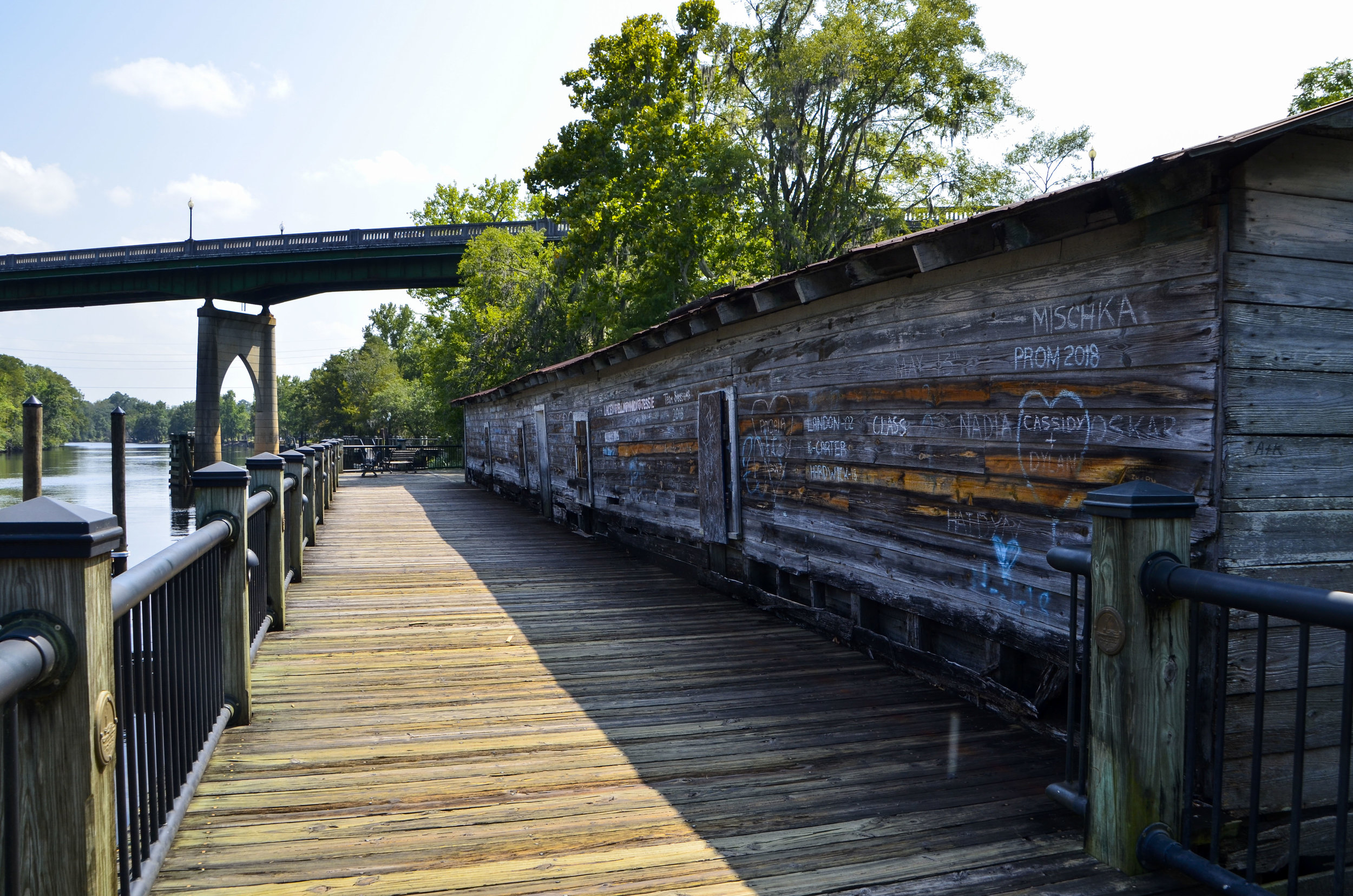 An old warehouse adjacent to the Conway Riverwalk.