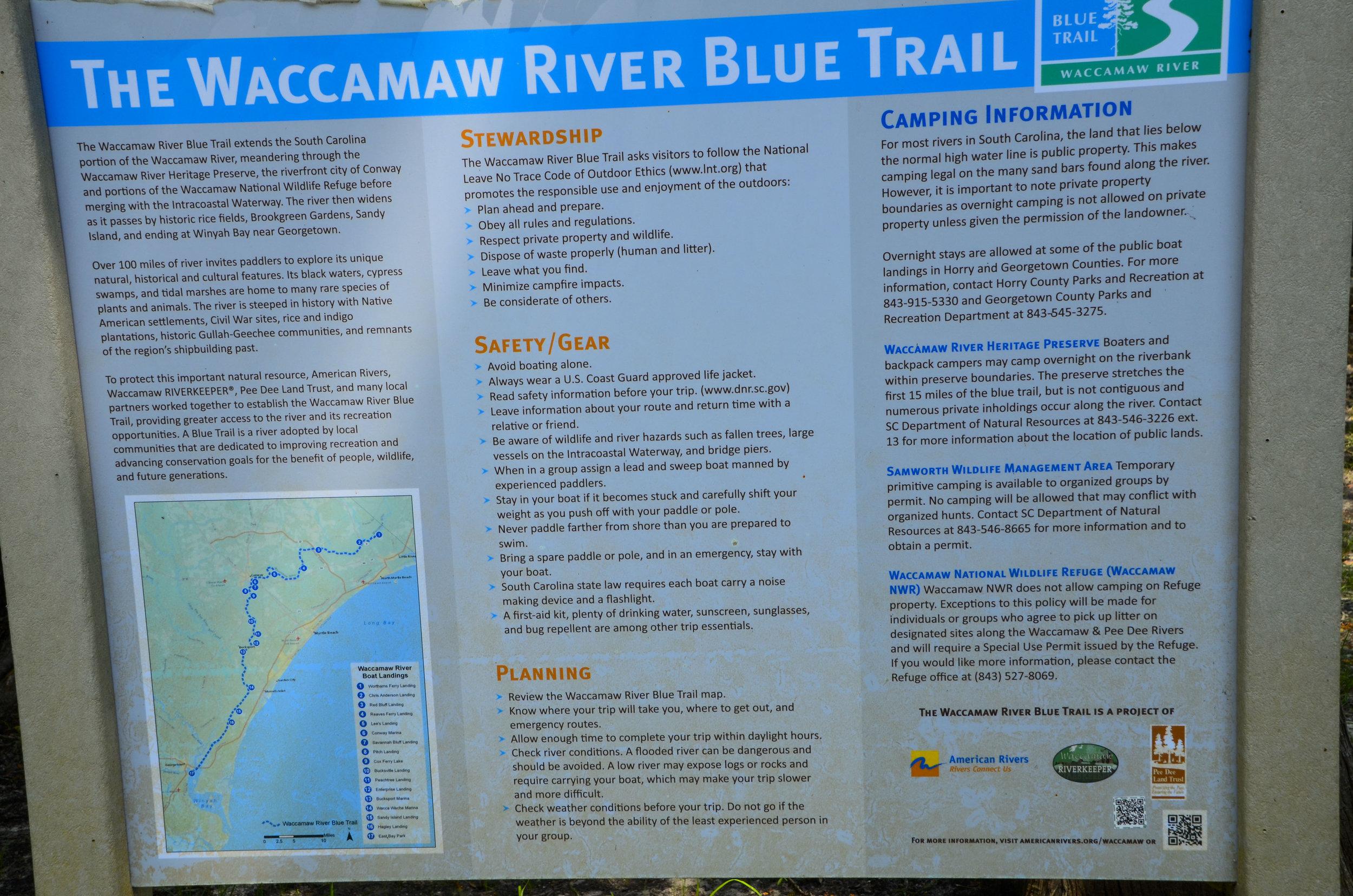 Blue Trails signage at Chris Anderson Landing.